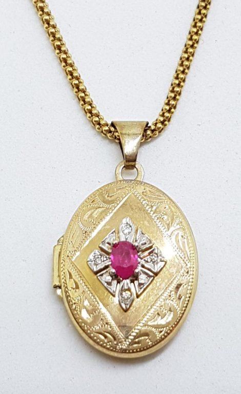 9ct Yellow Gold Oval Ruby and Diamond Ornate Locket Pendant on 9ct Chain