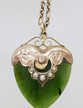 9ct Yellow Gold Antique NZ Jade Ornate Heart Pendant with Seedpearls on Gold Chain