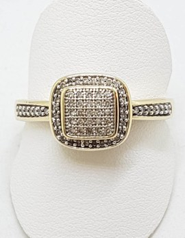 9ct Yellow Gold Square Diamond Cluster Ring