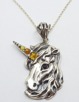 Sterling Silver Multi-Colour Amber Unicorn Large Pendant on Silver Chain