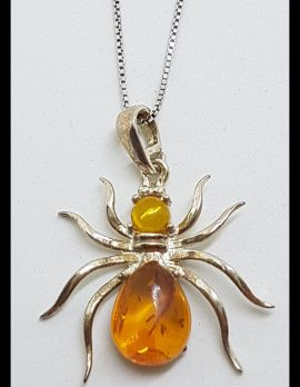 Sterling Silver Baltic Amber Spider Pendant on Silver Chain