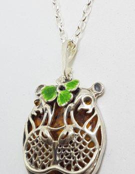 Sterling Silver Baltic Amber & Enamel Hippo Pendant on Chain – Hippopotamus
