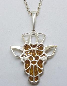 Sterling Silver Natural Amber Giraffe Head Pendant on Silver Chain