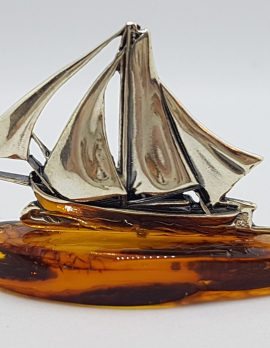 Sailing Boat / Ship / Yacht - Sterling Silver Natural Baltic Amber Small Figurine / Statue / Sculpture