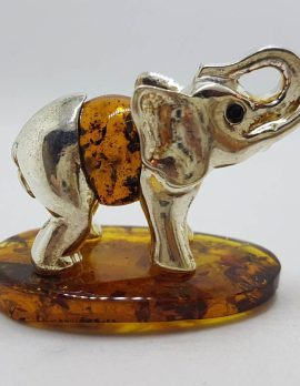 Elephant with Trunk Up - Sterling Silver Natural Baltic Amber Small Figurine / Statue / Sculpture