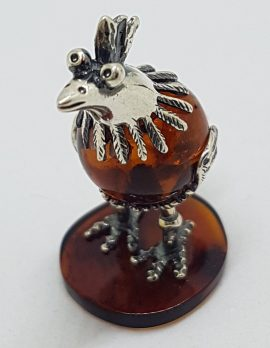 Cute Bird / Rooster / Hen - Sterling Silver Natural Baltic Amber Small Figurine / Statue / Sculpture