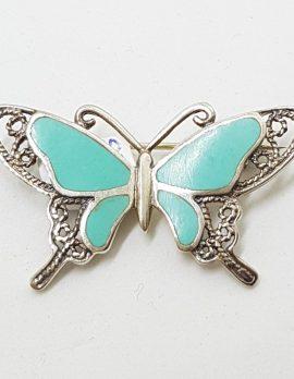 Sterling Silver Ornate Filigree Blue Butterfly Brooch