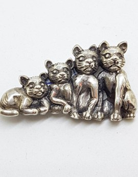 Sterling Silver Family of Four Cats Brooch