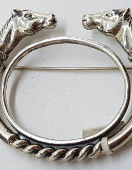 Sterling Silver Horse Head Large Coiled Whip Brooch