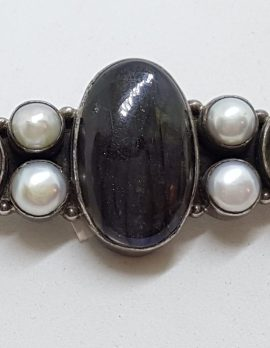 Sterling Silver Labradorite and Pearl Large & Long Bar Brooch