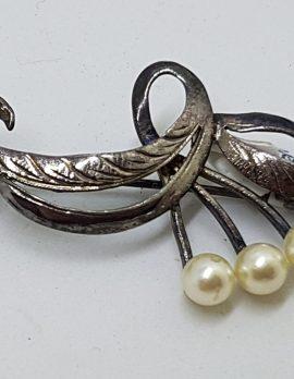 Sterling Silver Pearl Ornate Bar Brooch - Vintage