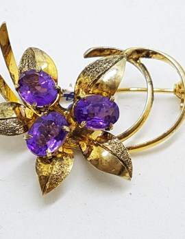 Sterling Silver and Gold Plated Amethyst Cluster Brooch - Vintage