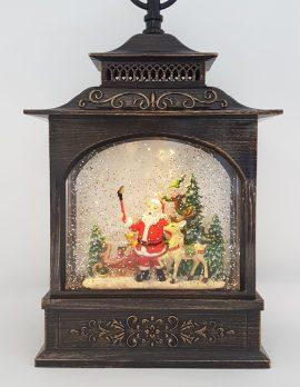 Christmas Glitter Snowglobe Lantern - Santa Taking a Selfie with a Reindeer / Rudolph - Christmas Ornament #3