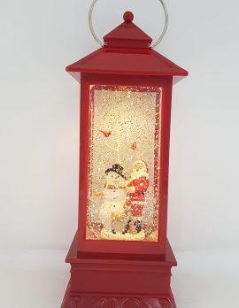 Christmas Glitter Lantern – Santa with a Snowman – Christmas Ornament Design #10