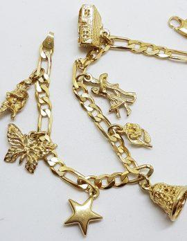 9ct Yellow Gold Charm Bracelet - 7 Charms