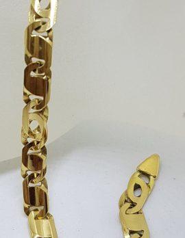 18ct Yellow Gold Unusual Flat Link Bracelet - Ladies / Gents