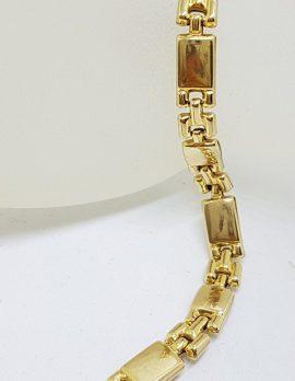 9ct Yellow Gold Flat Box Design Link Bracelet