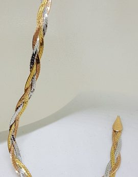 9ct Three Tone Gold Flat Plaited Twist Design Link Bracelet - Rose, Yellow and White Gold