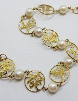 14ct Yellow Gold Round Set Chinese Symbols with Pearl Bracelet