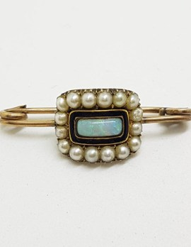 9ct Yellow Gold Black Enamel, Opal and Pearl Mourning Bar Brooch