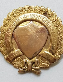 """9ct Yellow Gold Large Round Shield """" Single Handed Champion Geo Hearham 1910 - 1911 """" Medallion Ornate Brooch – Antique / Vintage"""
