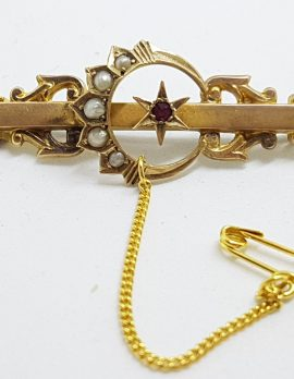 15ct Yellow Gold Garnet and Seedpearl Star and Crescent Moon Bar Brooch – Antique / Vintage