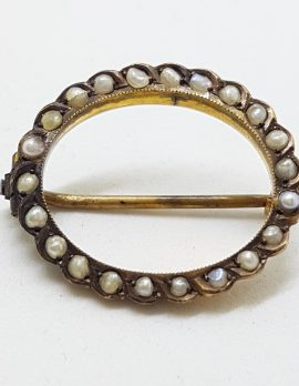 15ct Yellow Gold Seedpearl Oval Brooch – Antique / Vintage
