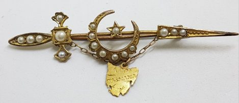 15ct Yellow Gold Seedpearl Ornate Crescent Moon and Star on Sword with Tasmania Map Bar Brooch