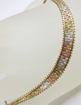 9ct Yellow, Rose & White Gold Flat Graduated Link Necklace / Chain - Three Tone