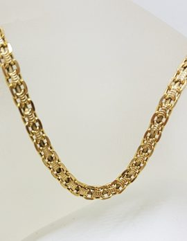 9ct Yellow Gold Flat Link Wide Necklace / Chain