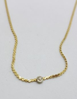 9ct Yellow Gold Flat Curb Dainty Necklace / Chain with Solitaire Diamond