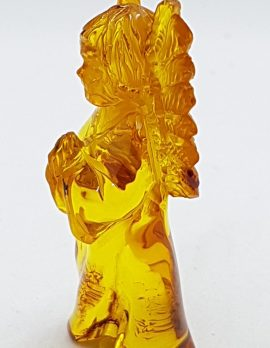 Hand Carved Natural Baltic Amber Small Guardian Angel Figurine / Statue 3