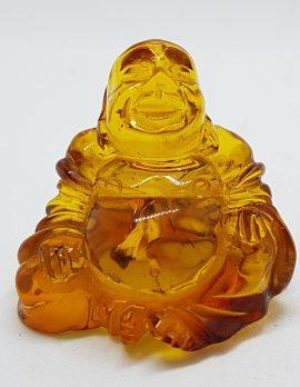 Hand Carved Natural Baltic Amber Small Buddha / Budai Figurine / Statue 1