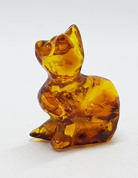 Hand Carved Natural Baltic Amber Small Cat Figurine / Statue 1