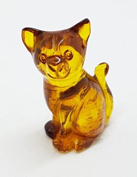 Hand Carved Natural Baltic Amber Small Cat Figurine / Statue 3