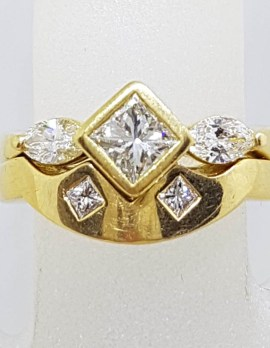 18ct Yellow Gold Channel & Claw Set Heavy Princess and Marquis Cut Diamond Engagement Ring with Matching Wedding Band Set - Curved