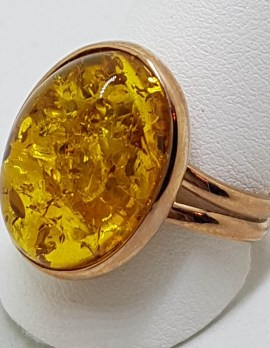 9ct Rose Gold Oval Baltic Amber Ring – Extendable - Large
