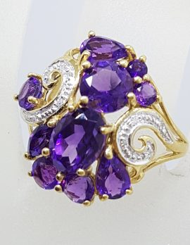 9ct Yellow Gold Stunning Large Amethyst and Diamond Cluster Ring