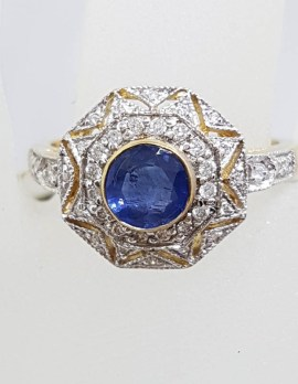 9ct Yellow Gold Natural Sapphire with Diamonds Octagonal Cluster Ring