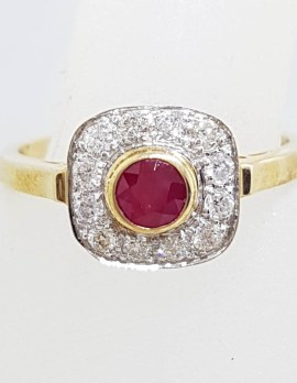 9ct Yellow Gold Natural Ruby and Diamond Square Cluster Ring