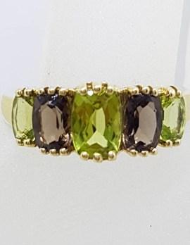 9ct Yellow Gold Peridot and Smokey Quartz Bridge Set Ring