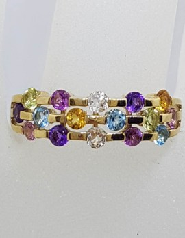 9ct Yellow Gold Multi-Coloured Gemstone Ring – Citrine, Topaz, Peridot, Amethyst , Pink Tourmaline and Clear Quartz