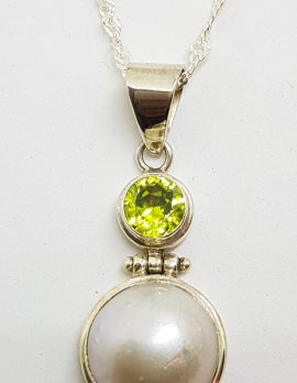 Sterling Silver Mabe Pearl & Peridot Pendant on Silver Chain