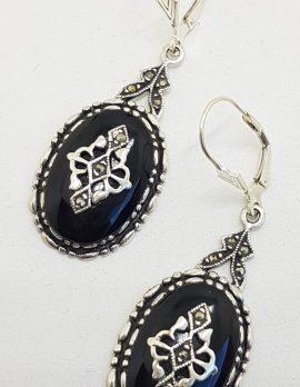Sterling Silver Marcasite & Onyx Large Oval Drop Earrings