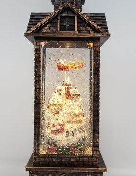 Christmas Glitter Lantern – Santa / Father Christmas in a Sleigh above Houses / Town – Christmas Ornament Design #8