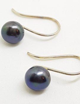 Sterling Silver Blue Black Pearl Drop Earrings