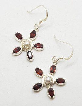 Sterling Silver Pearl and Garnet Flower Drop Earrings
