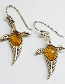 Sterling Silver Natural Baltic Amber Feather Drop Earrings