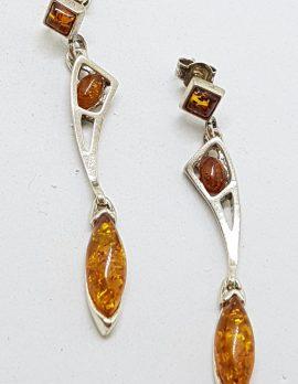 Sterling Silver Natural Baltic Amber Very Long Stud / Drop Earrings