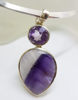 Sterling Silver Large Teardrop Shaped Cabochon Amethyst with Oval Faceted Amethyst Pendant on Sterling Silver Choker